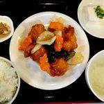中華料理 虎福 - 鶏から揚げ野菜甘酢あんかけ定食
