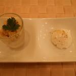 トラットリア カンティーニ - 前菜2種盛り合わせ(クスクスのサラダとチーズ)