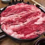 すき焼・鍋物 なべや - 2017年03月31日  牛肉鉄鍋 830円