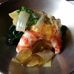 64736990 - 2017.3 下仁田葱と法蓮草、車海老の出汁ジュレ
