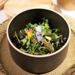 イレテテュヌフワ - 岐阜県の農家のサラダ、  白ワインビネガー、  魚介のお出汁で炊いたライス