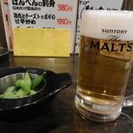 あべの応援団 勝男 - 生ビール(サントリーモルツ)&付き出し(枝豆)