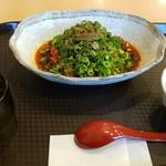 武蔵坊 - 汁なし担々麺醤油味4辛600円+ごはん小100円