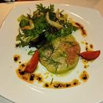 ビストロ アギャット - 野菜とサーモンとホタテのテリーヌに緑野菜の白魚添え