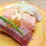 Mawarusushizammai - 炙り三貫盛り   498円