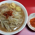 千里眼 - ラーメン麺半分 ヤサイ少な目 ニンニク・ショウガ・カラアゲ別皿で 730円