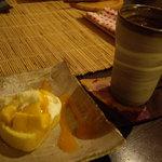 i-cafe 妙真寺 - ケーキセット(マンゴーのシフォンロールケーキ)