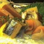 648978 - 刺身盛り合わせ(鰹、秋刀魚、カンパチ、赤貝、蛸)