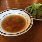 きっちんピノキオ - ランチセットのスープ・サラダ