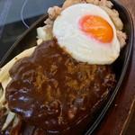 肉の万世 - ハンバーグ&目玉焼き。うまそうです。(2017.04)