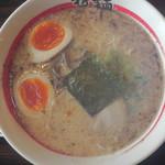 東京発祥豚骨ラーメン 哲麺縁 - 味玉ラーメン(真上)