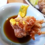 キッチン丸山 - 辛子と酢醤油をつけて食べます
