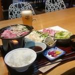 げんき食堂 WAKU家 - 「牛バラ肉の陶板焼き御膳 (夕食券+500円)」