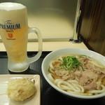 本場さぬきうどん 親父の製麺所 - 肉うどんに半熟卵揚げ!!