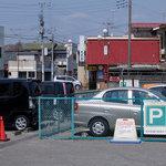 64873645 - 佐野市駅から見えるお店の赤い屋根