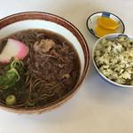 くらわんかうどん - 赤牛肉そば 高菜飯(小)