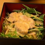 かしわ屋源次郎 博多シティ - 北崎セットの鶏の香味サラダ