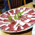 うを伊食堂 - 2017年1月 しし鍋4人前の肉の部