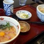 64897090 - 鯛の漬け丼とうどんのサービス定食(1,095円)茶碗蒸しとデザート付です