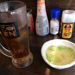 神田 もつ焼センター えん - スープと烏龍茶