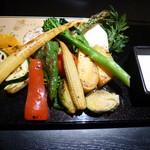 京ごはんと鉄板焼き 京月 - 焼き京野菜のバーニャカウダ