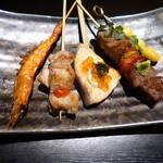 京ごはんと鉄板焼き 京月 - おまかせ串5種