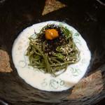 京ごはんと鉄板焼き 京月 - うに茶そば豆乳白ごまクリーム