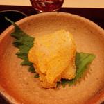 日本料理 百屋 - 淡路産天然ひらめのカラスミあえ!