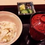 日本料理 百屋 - ふきと山椒の釜飯 残った分はおにぎりでお土産にしてくださいました。