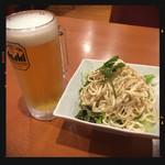 中華料理居酒屋 天府 - 寄り道セットの生ビール&干し豆腐