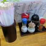 浜乃家 - 卓上の調味料。この日もカウンター席でいただきました。
