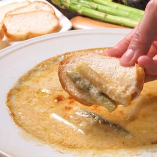 名物!!アスパラガスのチーズソース焼き