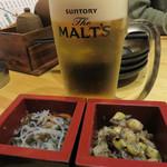 豪海丸 - お通し(画像は2人分)は酒升に入ってました。 春雨の和え物と豆・根菜のサラダ。
