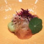 64953247 - 先付 飯蛸黄身酢 空豆クリームチーズ射込 菜花