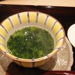 64953434 - 替鉢 このこ茶碗蒸し 青さ海苔餡