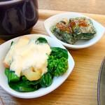 64958885 - 菜の花と小海老の玉子サラダ&春菊のチヂミ♡