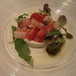 レストランキハチ - 前菜・ボタン海老とマッシュルーム