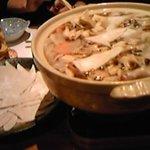 十割蕎麦 道菴 - 蕎麦かっけ鍋、野菜ときのこでヘルシー。しょうが味噌で温まります。