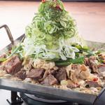 ■たっぷりネギの煮込み肉鍋!甘辛醤油出汁