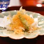 二条城ふる田 - 白魚の天ぷら、からすみかけ