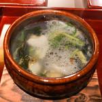 二条城ふる田 - 蛤出汁の鍋、山口の鮑