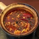 中国家常菜 しんた - 熱々土鍋の麻婆豆腐です。