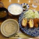 かつ心 - ◆「チーズひれかつと梅しそひれかつ膳(税込1000円)」・・メインにご飯、お味噌汁、香の物付。