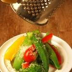 蒸した野菜のパルメジャーノがけ