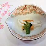 山玄茶 - 『ウニの豆腐』~!! 『白魚』と『菜の花』添え(醤油のジュレがけ)~♪( ^o^)ノ