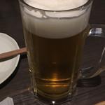 炭火焼 蕾家 - まずは生ビールで