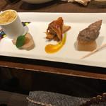 65056837 - カボチャのグラタン  三河豚のパテ   仔羊のリエット                       バイ貝の和風煮