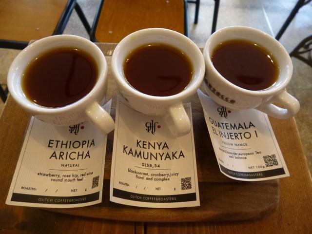 グリッチコーヒー&ロースターズ - 3種類のコーヒー飲み比べ、税込み780円
