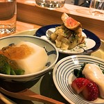 65068084 - 新玉ねぎのお豆腐 / 菜の花と苺の白和え / ポテトサラダ