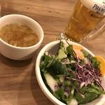 ジャクソンファーム&グリル - ビールとCセット(ライス、スープ、サラダ)